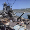 呉海軍工廠の造船船渠で艤装中の戦艦大和